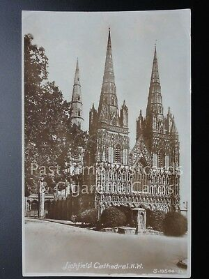 Lichfield Cathedral: North West, RP c1933 - showing Water Pump