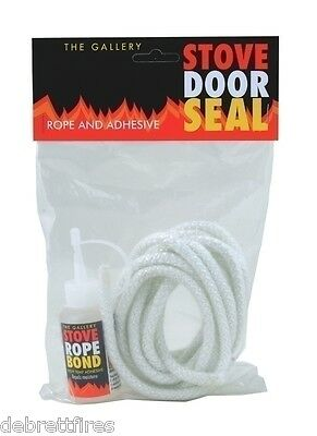 12MM X 2.5M PD WHITE STOVE DOOR SEAL ROPE KIT AND 50ml GLUE FIRE  WOODBURNER
