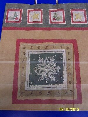 Snowflake Brown Winter Christmas Holiday Party Kraft Paper Large Gift Wrap Bag