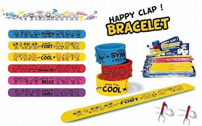 Lot 3 Bracelets Clap Humoristique Happy Colorés Smiley Fashion Pierre-cedric