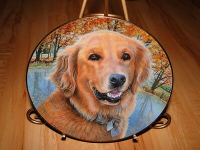 GOLDEN RETRIEVERS Golden Retriever Dog Puppy ALL SMILES Danbury Puppy Dog Plate