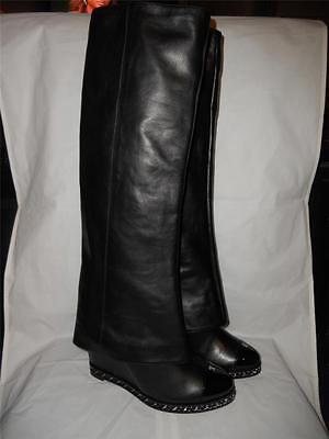 24ea7d74dd9 CHANEL Black Leather Chain Wedge Heel Foldover Knee High Tall Pant Boots   2150