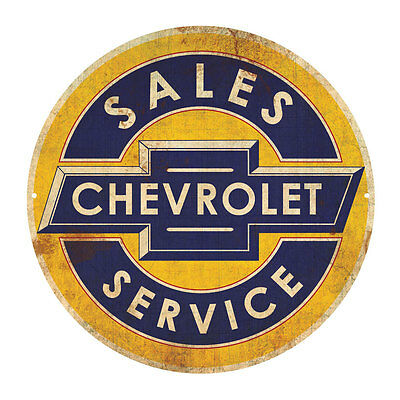 CHEVROLET CAR SALES SERVICE   ROUND  TIN SIGN RUSTIC 35cm DIAMETER