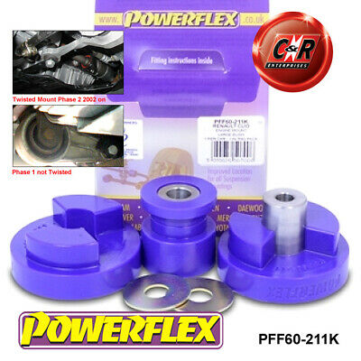 Renault Clio2 inc172+182 Powerflex Dogbone Twisted Eng Mount Bush Kit PFF60-211K