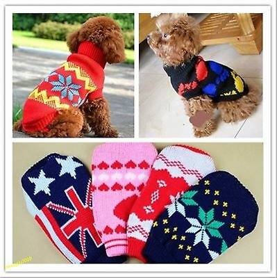 Stylish Warm Puppy Pet Cat Dog Sweater Knitwear Coat Apparel Clothes 5 Sizes