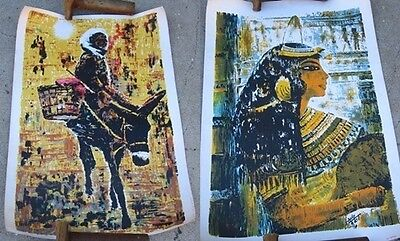 Vintage ART PRINTS Early 1960s ARVID Girl On Donkey Egyptian Isis Ancient Egypt