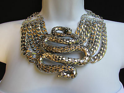 New Women Silver Metal Chains Big Snake Egyptian Fashion Necklace + Earrings Set