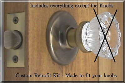 Universal RETROFIT KIT to install your Antique Spindle Knobs-Any Door -PRIVACY