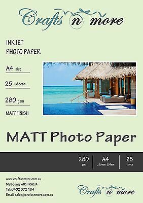 A4 25 SHEETS 280 gsm MATT PREMIUM HIGH QUALITY RESIN COATED PHOTO PAPER INKJET