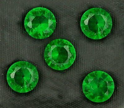 Five 6mm Round Synthetic Green Emerald Gem Stone Gemstone EBS3967