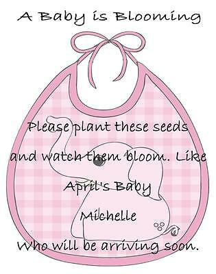 Baby Shower Seed Packets Favors Pink Elephant Set of 30