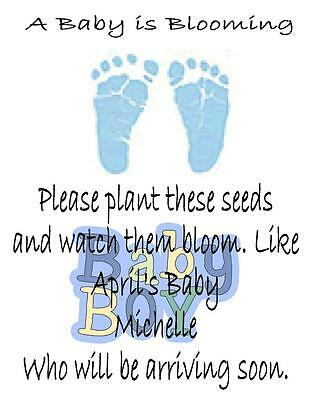 Baby Shower Seed Packets Favors Blue Footprint Set of 30