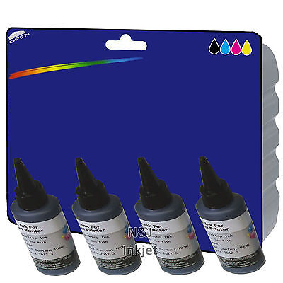 4x Pigment Black 100ml Bottles of Bulk Ink for use with Canon Inkjet Printers