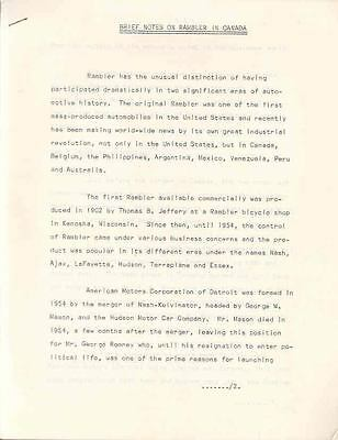 1954 thru 1962 AMC Rambler Canada History Press Release wp3850-XCDSI8