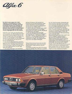 1979 Alfa Romeo 6 Berlina Brochure Poster Dutch wp5430-M34FYG