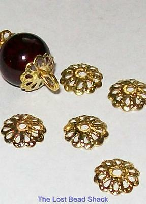 200 Gold Plated 7mm Fine Metal Bead Caps Findings