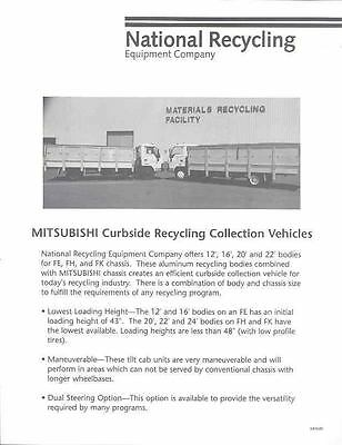 1990 Mitsubishi FE FH/K Curbside Recycle Truck Brochure wo5876-7BZ9OX