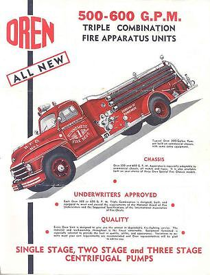 1950 Oren Dodge Diamond T Ford Fire Truck Brochure wo6435-3M5N3A