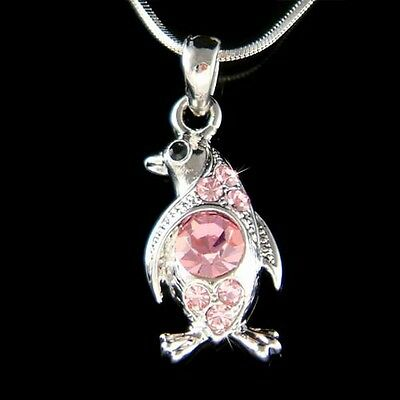 Pink Penguin made with Swarovski Crystal Antarctica Galápagos Charm Necklace New