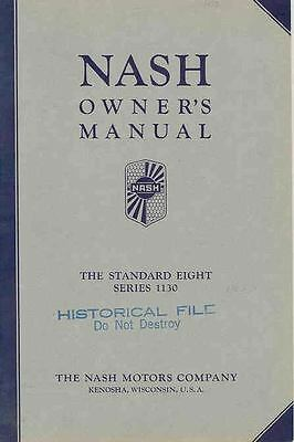 1933 Nash Standard Eight Series 1130 Owner's Manual wq5664-CUJMGS