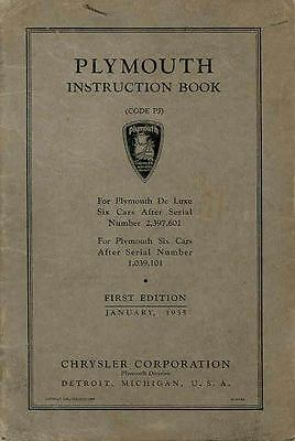 1935 Plymouth Model PJ Owner's Manual First Edition wq5778-NWR9ZE