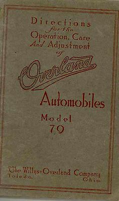 1914 Willys Overland Model 79 Owner's Manual wq5869-SES94O
