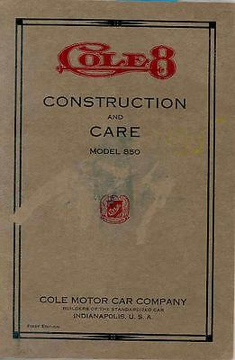 1916 Cole Model 8-50 Owner's Manual wq5915-CAPZZS