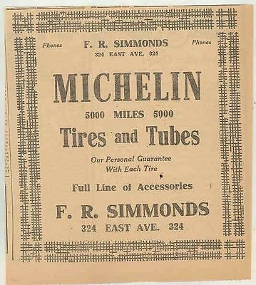 1918 Michelin Tires Rochester NY Dealer Newspaper Ad ws0254-8ULVJ5