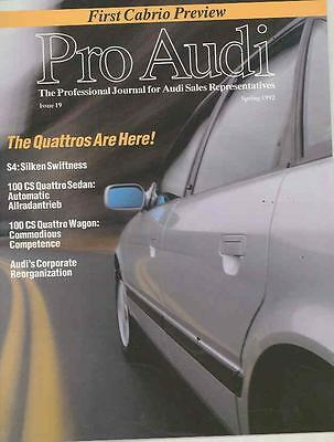 1992 Audi Factory USA Salesman's Magazine Brochure S4 Intro ws0395-EY93DM