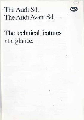 1992 Audi S4 Technical Features European Brochure ws0398-SV4A4X