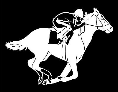 Race Horse Decal with Jockey track car window trailer vinyl sticker graphics