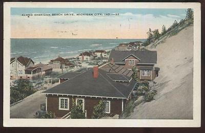 Postcard MICHIGAN CITY Indiana/IN  Sheridan Beach Area Houses/Homes view 1910's