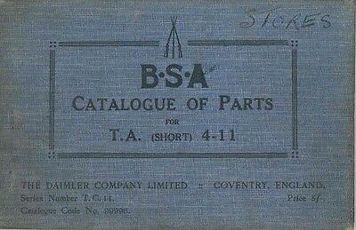 1923 BSA Short TA 4-11 HP Illustrated Parts Book wb4983-JBYD1X