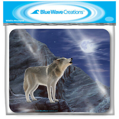 (10) NEW Wolf Moon Mouse Pads by Blue Wave Creations WHOLESALE Bagged