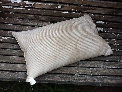 Well Loved Prim Blue & Grey Stripe Faded Ticking Feather Pillow
