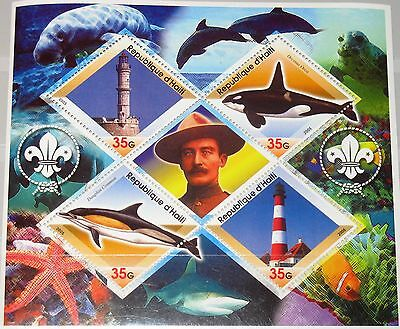 HAITI 2005 unlisted Lighthouses Leuchttürme Whales Wale Dolphines Boy Scouts MNH
