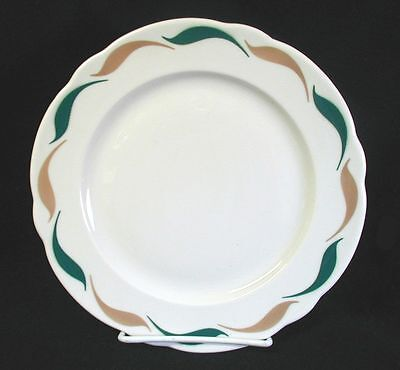 "Vin 1964 DINNER PLATE Restaurant Ware JACKSON PA Green/Yellow Wave 9"" USA"