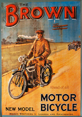 Plakat The Brown Brothers Motorrad Bicycle London Manchester 187