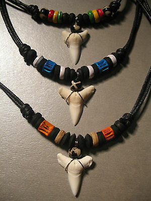 Shark Tooth Surfer Pendant Sharks Teeth Surf Necklace *Choose Bead Colour*