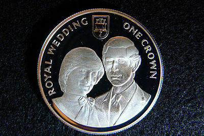 1981 Gibraltar Large Silver Proof 1 Crown-Charles-Diana Wedding