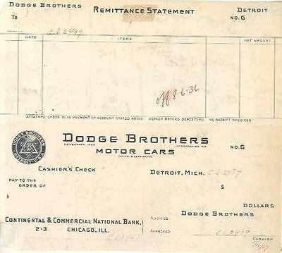 1917 Dodge Factory Cashiers Check Sample wn742-9Z9LXB