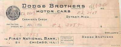 1915 Dodge Factory Cashiers Check Sample wn745-8JAUGI