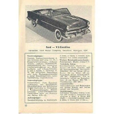 1953 Ford Convertible & Vedette Mag Page German wn958-UYGMQA