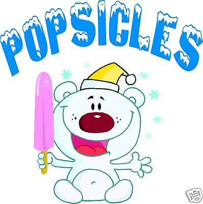 "Popsicles Popsicle Concession Decal 14""  Ice Cream Food Truck Cart Menu Food"