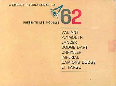 1962 Plymouth Dodge Imperial Chrysler Brochure Swiss French wl2046-JD1YHB