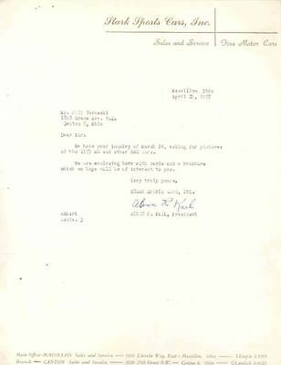 1957 MG Dealer Letter Massillon Ohio wl6942-4PNJU5