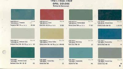 1959 1960 1961 Opel Paint Color Chips Set wk8005-2IGEMM
