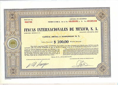 Mexico Fincas Internacionales de Mexico old share Titulo 1972 uncancelled