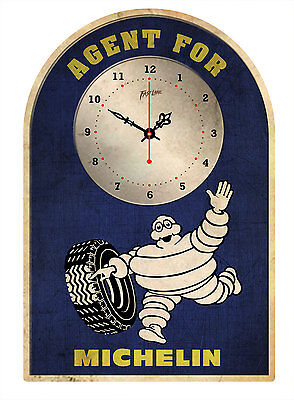 MICHELIN TYRES  RUSTIC  TIN SIGN CLOCK Agent for..
