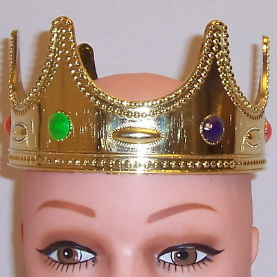 Child Gold King Crown Halloween Costume Jeweled Birthday Party Hat Dress-Up